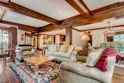 Enjoy this mountain style vacation residence at One Willow Bridge Road along Gore Creek.