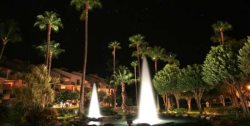 Beautiful fountains at night right outside unit
