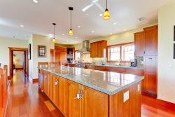 Modern lighting and cherry hardwood floors