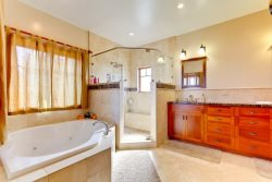 En suite bath with spacious Jacuzzi tub