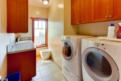HE Washer and Dryer with starter kit of laundry detergent for your stay