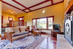 Beautiful interior design features and hardwood floors