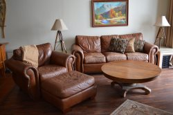 Leather couches in the living room