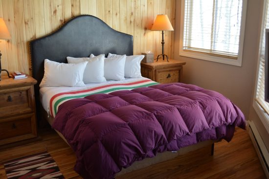 Comfy Queen Bed, Feather Pillows, Hudson Bay Blanket and Goose Down Comforter