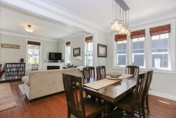 dining area has a large dining room table to accommodate everyone in your group