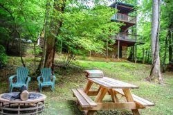 OUR FAVORITE PLACE- 2BR/2BA- CREEK FRONT CABIN SLEEPS 8, SAT TV, PRIVATE HOT TUB, GAS GRILL, GAS LOG FIREPLACE, KING BED IN MASTER SUITE, PET FRIENDLY! STARTING AT $99/NIGHT!
