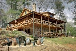 ASKA ESCAPE- 3BR/3BA- AWESOME TRUE LOG CABIN WITH UPSCALE FURNISHINGS, 52 INCH TV, GAS AND WOOD BURNING FIREPLACES, WIFI, SATELLITE TV, SECLUDED HOT TUB, GAS GRILL, HAMMOCK! STARTING AT $159 A NIGHT!