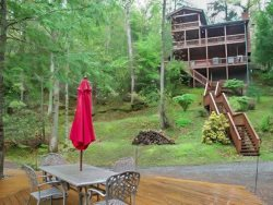 BEARS NEST- 3BR/3BA- CABIN SLEEPS 10, LOCATED ON THE TOCCOA RIVER, GAS & CHARCOAL GRILL, HOT TUB, FIRE PIT, DECK OVER THE RIVER, SATELLITE RADIO, WIFI, NETFLIX ONLY, WII CONSOLE, PET FRIENDLY! STARTING AT $220 A NIGHT