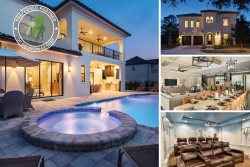 Orlando Retreat | 9 Bed Mediterranean Villa with Amazing Movie Theater, Theme Rooms with Custom Bunk Beds, Games Room & Summer Kitchen with Pizza Oven
