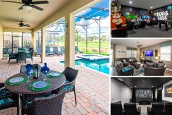 Country Club View | 9159 Caddie Way | 8 Bed Villa with Classic Arcade Theme Games Room, Theme Kids Bedroom, Private Pool and Spillover Spa