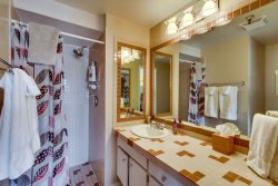 Bathroom off Master bedroom has large walk-in shower wheelchair accessible, which you can see in the mirror.