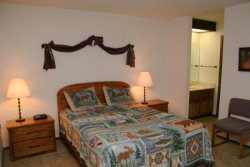 Mammoth Condo Rental Woodlands 36 - Master Bedroom with a Queen Bed and Private Sink