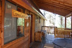 Copper Creek Chalet - Upper Valley, On Black Copper Creek, Satellite, Wood Stove, Semi Secluded with Wooded Surroundings, Charcoal Grill, Covered Deck w/Outdoor Furniture and Fire Pit, WiFi, Free 24/7 Local Gym Access