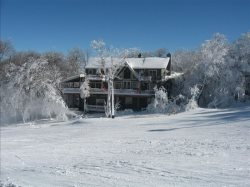 7BR Ski Chalet on the Slopes of Beech Mountain, NC, Wall of Windows Overlooking the Slopes, Hot Tub, Game Tables, Sleeps 16