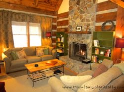 Trailhead Cabin Living Room from Kitchen and Dining Area