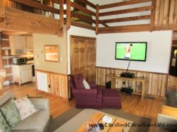 Trailhead Cabin Large Flat Screen TV in Living Room