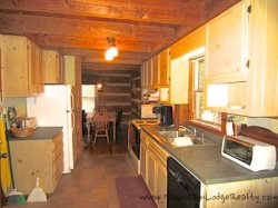 Trailhead Cabin Kitchen looking back to Dining Area
