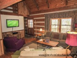 Trailhead Cabin Living Room Large Flat Screen TV