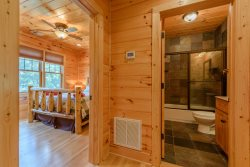 Valle Crucis Overlook Upstairs Full Bath with Granite Sink and Slate Tub\/Shower