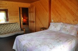 The Third Bedroom is downstairs with a Queen Bed, a TV and Deck Access