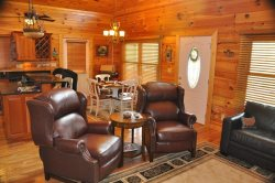 Relax on the Leather Sofa and Enjoy Satellite TV and the Gas Fireplace