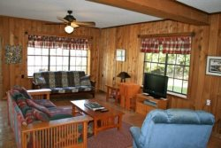 Downstairs Living Area With Directv - Highland Lakes Rental House
