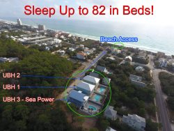 30A Seagrove Beach `Super Ultimate Beach House` Sleeps 82 in Beds! Private Pools! Game Rooms! Bikes!