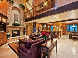 Luxury Great Room with Fireplace and Flat Screen TV