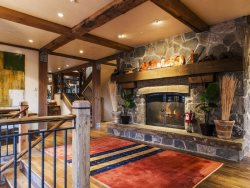 Grand Entrance with Custom Stone Fireplace