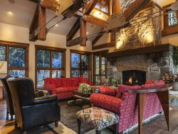 Massive Stone Fireplace in the Luxurious Great Room