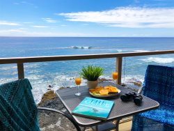Kuhio Shores 416: Oceanfront Penthouse Condo With Spectacular Sunset Views.  Watch the surfers from this ocean front 1 bd. FREE mid-size car.