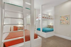 Bunk Room on Second Floor Featuring 2 Double Beds and 2 Twin Beds with a Private Bath