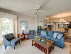 Spacious Living Room with Balcony Access at 107 Barrington Arms in Palmeto Dunes