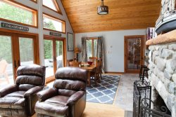 Large Stone Fireplace - New home on Moosehead Lake