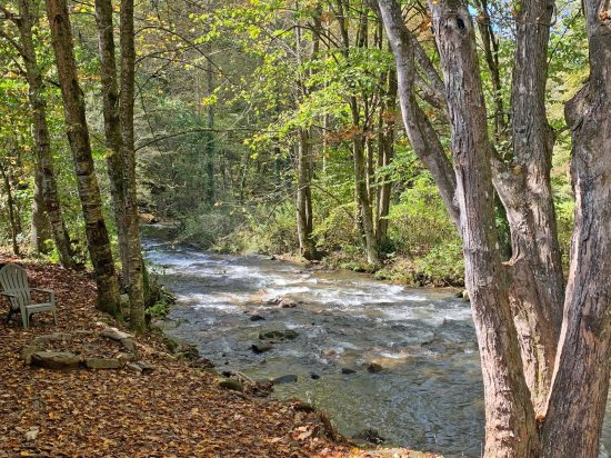 Smoky mountain cabin rental on trout stream for Fishing cabins in nc