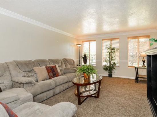 Family room with sectional, TV