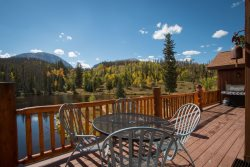 Spacious deck overlooking the great views of Bootlegger Lake and Buffalo Mountain