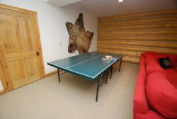 Spacious recreation room with a ping pong table