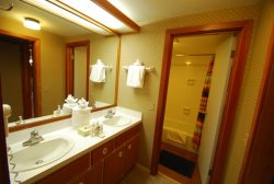 En suite bathroom with dual sinks