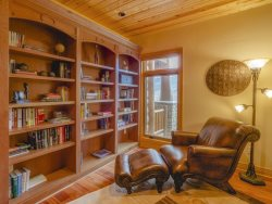 Library with a plush, leather chair