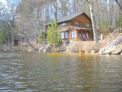 Private Waterfront Log Home on Pea Porridge Pond