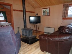 Cathedral Pine Living Room, Leather Sofa, Flatscreen TV w\/DVD