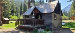 Great historic cabin with fireplace,  large living room and sleeping loft