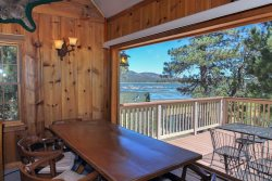 The Antlers a cozy Lakefront Big Bear Vacation Cabin with superb panoramic views of the lake and BBQ.