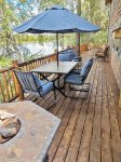 Deck with View of Lake, Outdoor Furniture with Umbrella and Firepit