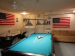 Gameroom Features Pool Table Air Hockey and Foosball