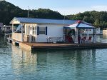 The patriot has plenty of deck space for guests to lounge on the lake