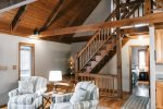 Ma Cook Lodge has high ceilings, steps to the loft suite