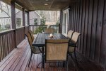 Enjoy your BBQ on the lakefront deck at Ma Cook Lodge