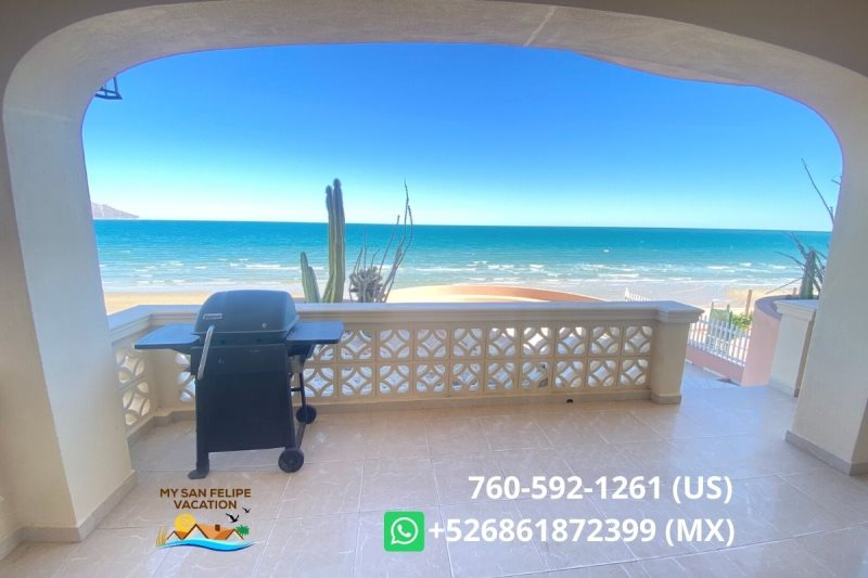 Steps to the BEACH Las Palmas Condo # 1 & San Felipe Modern beachfront Las Palmas condo 1 for rent with ...